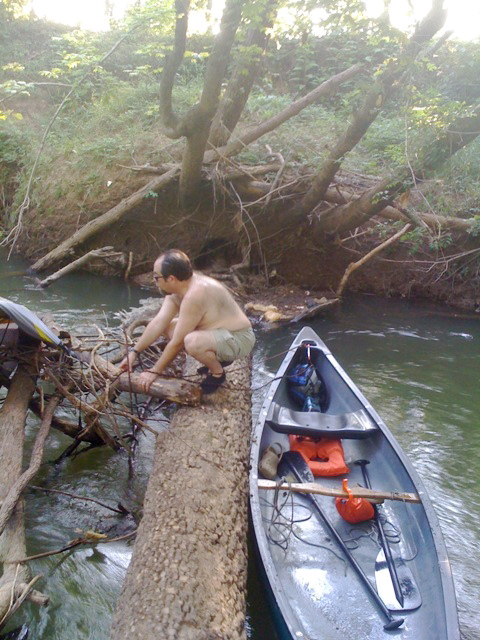 This tree completely blocked our passage.  We had to lift the canoe over the tree.