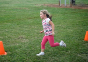 Molly Rounds the Corner at the Autumn Chase Fun Run